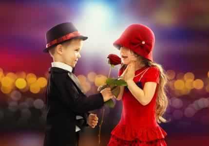 玫瑰,男孩,女孩,孩子,浪漫,童年
