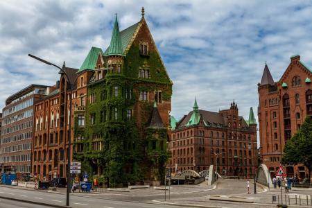 德国,汉堡,城市,街道,建筑物,美女,天空,云