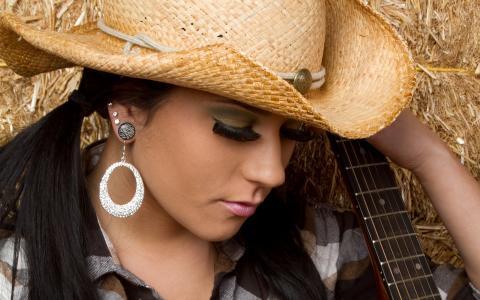 黑发,帽子,吉他,睫毛,耳环