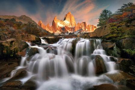 Jkboy Jatenipat,阿根廷,巴塔哥尼亚,山脉,石头,瀑布