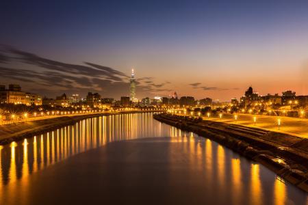 台北,中部,城市,晚上,河,中国,台湾