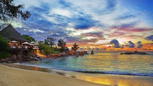 塞舌尔,岛,房子,咖啡厅,海滩,自然,海洋,天空,日落
