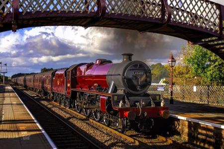 站,方式,平台,火车,火车,蒸汽机车,桥,复古