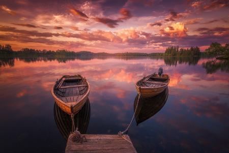 性质,湖,挪威,小船,日落