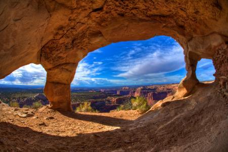 峡谷,岩石,洞穴,拱,拱,天空
