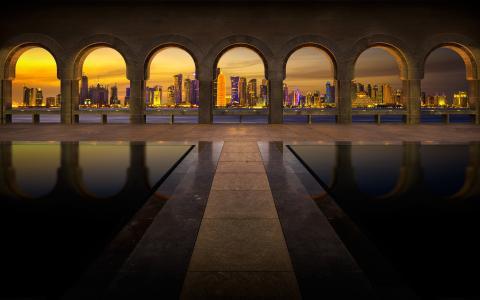 伊斯兰艺术博物馆,多哈,卡塔尔,城市,晚上,建筑
