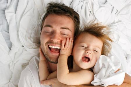 爸爸,女儿,喜悦,生活