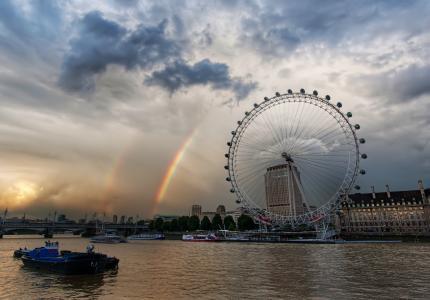 伦敦,泰晤士,旋转木马,伦敦,彩虹