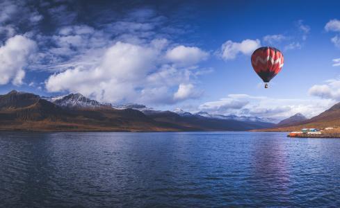 山,湖,天空,云,气球,美女