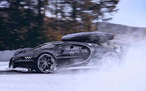 布加迪,超级跑车,冬季,雪地,速度,跑车,帅气