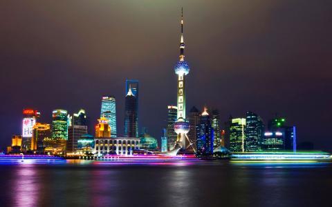 上海,夜晚,灯火通明
