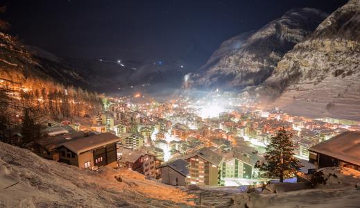 瑞士,镇,夜,冬天,灯,雪,山,峡谷,新的一年