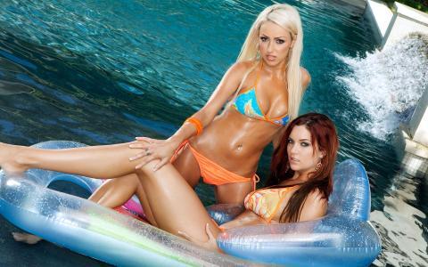 女朋友,夏天,游泳池,泳装