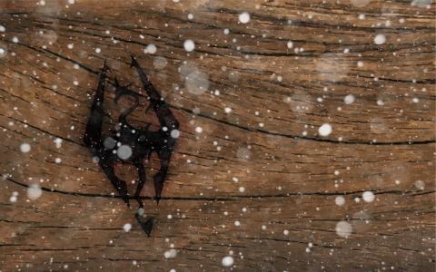 龙,雪,标志,艺术,树,skyrim