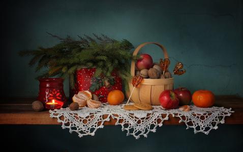 架,静物,篮子,坚果,框,分支机构,云杉,枞树,蜡烛,水果,苹果,橘子,饼干,糖果,餐巾