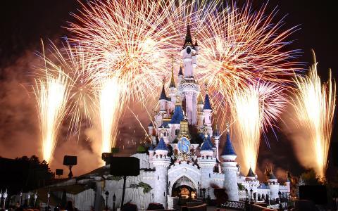 夜,迪斯尼乐园,城堡,巴黎,城堡,烟花,法国