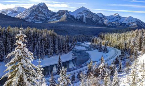 山,冬天,自然,加拿大,森林,火车,路,雪,山区河流,美丽