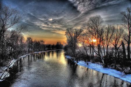 性质,雪,日落,冬季,河,天空,树木