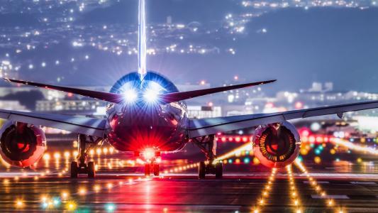着陆,灯光,机场,飞机
