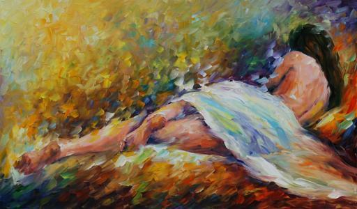 列昂尼德·阿夫雷莫夫,绘画,女孩,裸体,回,腿,姿势,头发