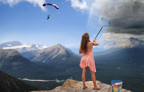 山,女孩,衣服,水桶,水槽,跳伞运动员