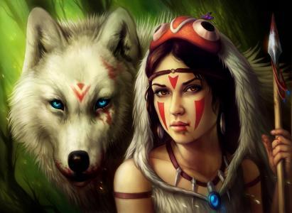 女孩,mononoke公主,鲜血,公主mononoke,狼