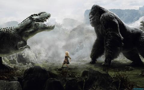 金刚,恐龙,女孩,山,雾