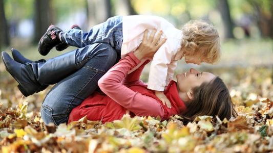 孩子,母亲,秋天,喜悦,爱情,情绪,公园,美女