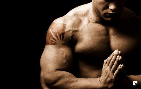 Muzhik,健美运动员,肌肉,身体和灵魂和谐,背景,黑色