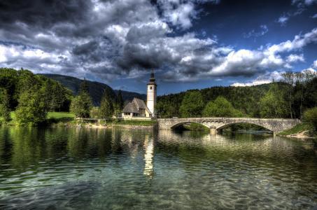 斯洛文尼亚,树,塔,森林,云,高清晰度电视,渤兴,桥
