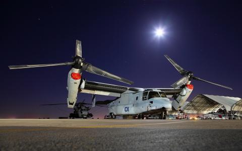 飞机,直升机,空军,美国,机库,基地,机场,夜晚,月亮,星星