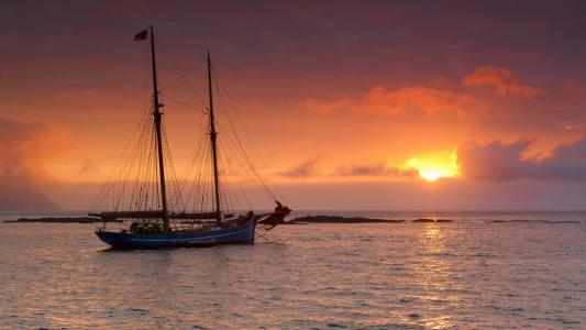 游艇,日落,海
