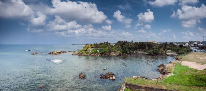 景观,海岸,石头,天空,加勒斯里兰卡,云,性质
