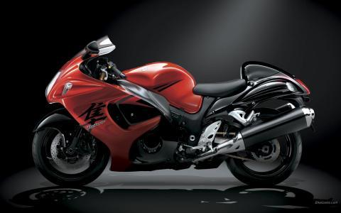 红色摩托车,自行车