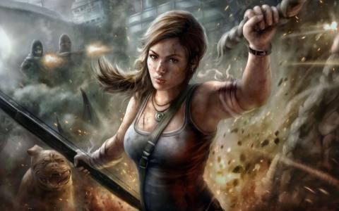 坟茔入侵者,Lara Croft,大厦,狗