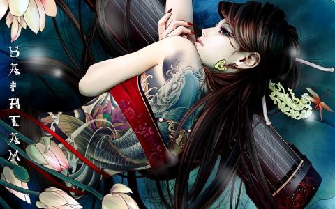 女孩,动漫,纹身,鲜花,亚洲,象形文字