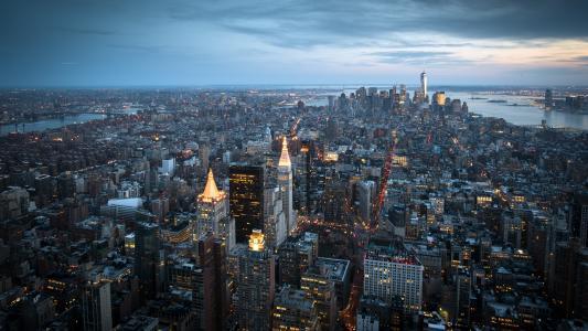 曼哈顿,纽约,城市,晚上,摩天大楼,灯光