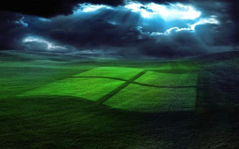 蓝色,草,绿色,窗口,光,天空
