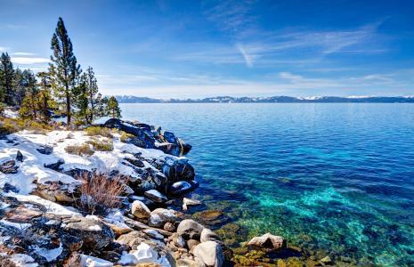 美国,湖,海岸,冬天,景观,天空,太浩湖,树,内华达州,性质