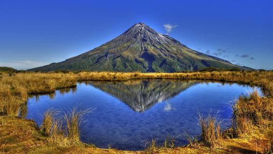 山,湖,水,天空,草,秋,顶,美