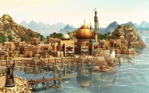 船舶,船舶,港口,城市,游戏壁纸,城市,Anno 1404,渲染,到来