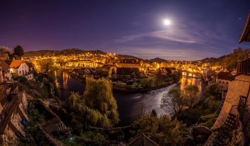 捷克共和国,房屋,河,晚上,月亮,捷克克鲁姆洛夫,城市