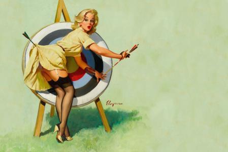 金发,礼服,箭头,长筒袜,绘图,目标,复古,pin向上