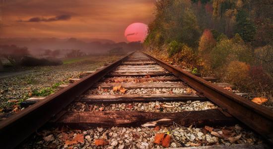 铁路,铁路,枕木,路径,距离,日落