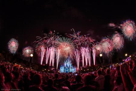 迪士尼乐园,城堡,烟花,夜晚,假日