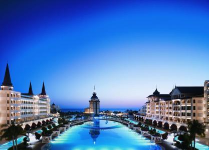 土耳其,酒店,建筑,城市,游泳池,天空,晚上