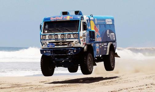 卡马斯,卡马斯,卡车,达喀尔,蓝色,红牛,拉力赛,海,海滩,水,501