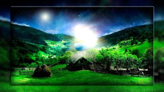 房子,青山,夜空,水,光辉