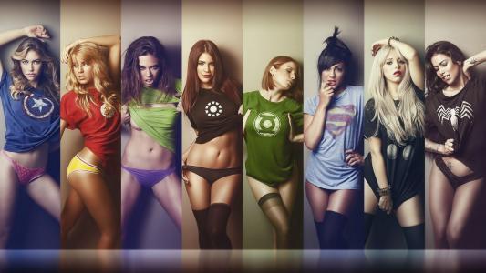 女孩,性感,美国队长,闪光,绿巨人,铁人,绿灯侠,超人,雷神,毒液