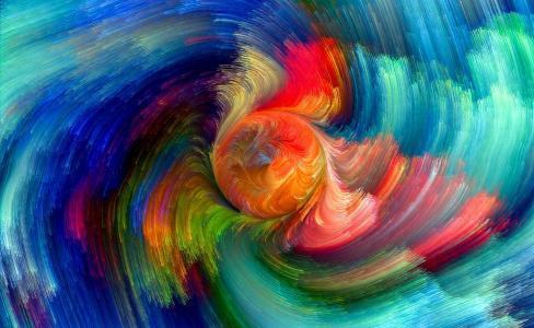 3d图形,抽象,抽象,颜色,飞溅,绘画,彩虹,多彩